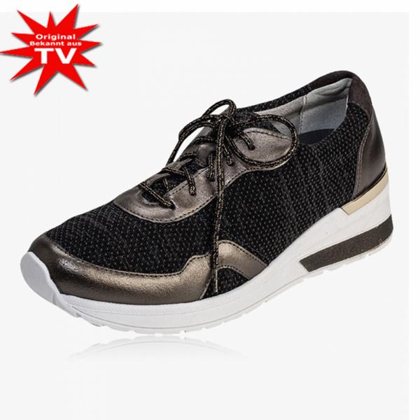 vitaform® Echtleder-Sneaker mit Textilstretch - Farbe Schwarz