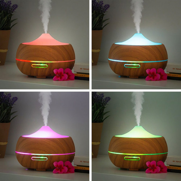LED humidifier with aroma and wood effect