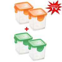 Nicer Dicer Quick collection container set 8-piece orange + gree